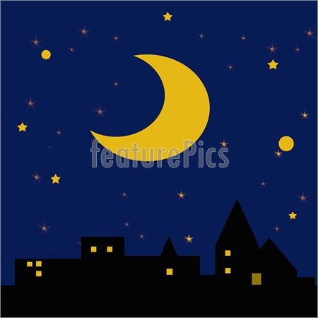 Clip Art Illustration Starry Night Sky And Hills