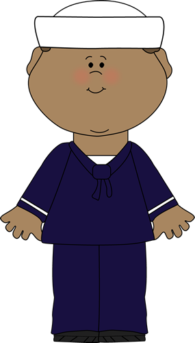 Clip Art Image   Boy In A Blue Sailor Uniform With A White Sailor Hat