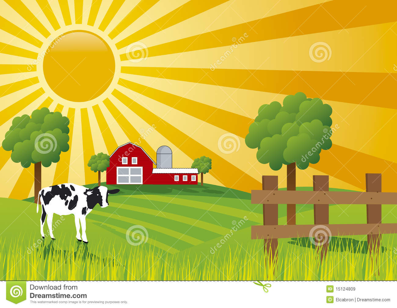 Colorful Illustration Of A Sunrise At Farm