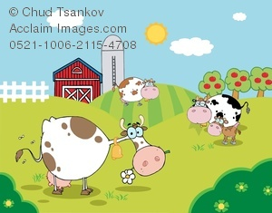 Dairy Farm Clipart Clipart Image Of Cows On A