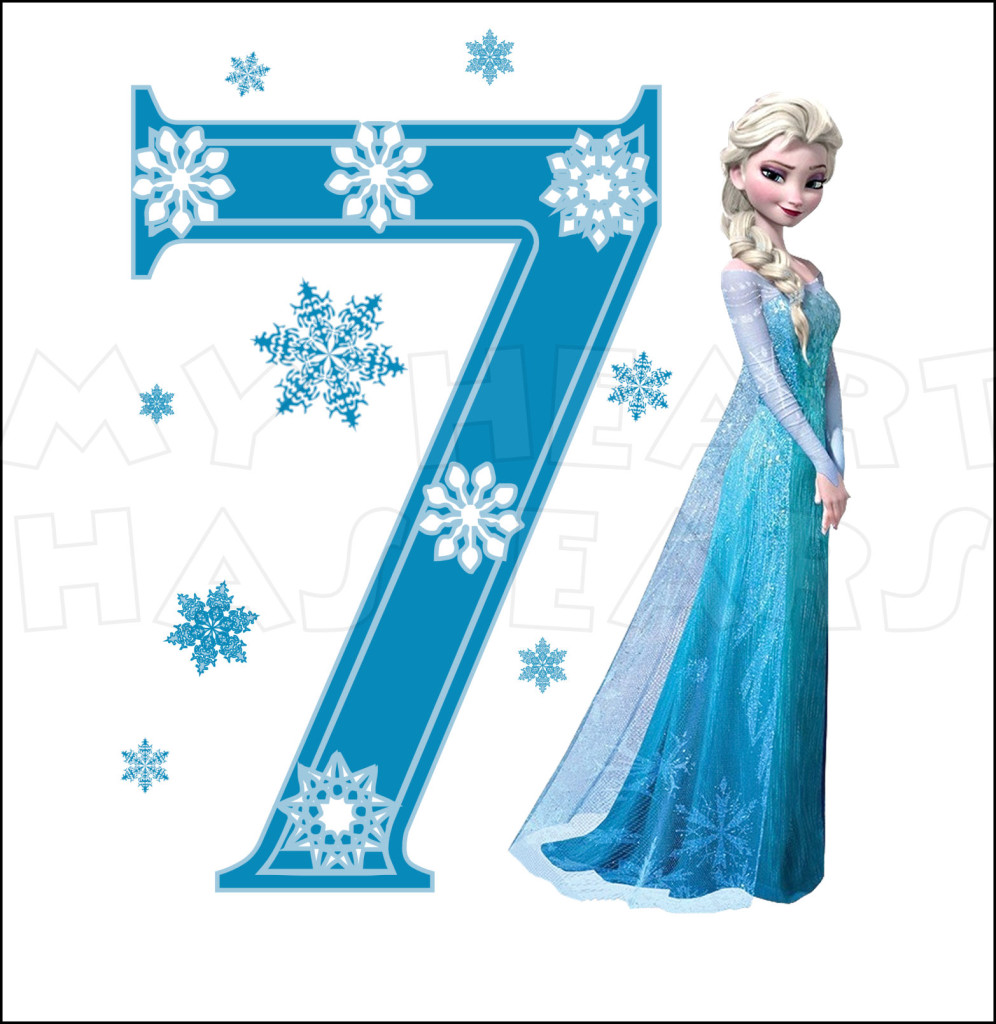 Disney S Frozen Elsa Birthday With Number 7 Instant Download Digital
