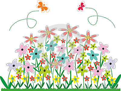 Flower Bed Clipart Abstract Vector Flower Bed