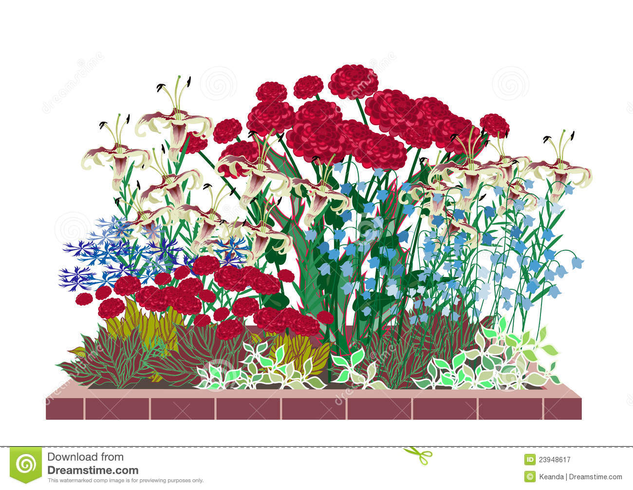 Flower Bed Clipart Flower Garden With Roses And