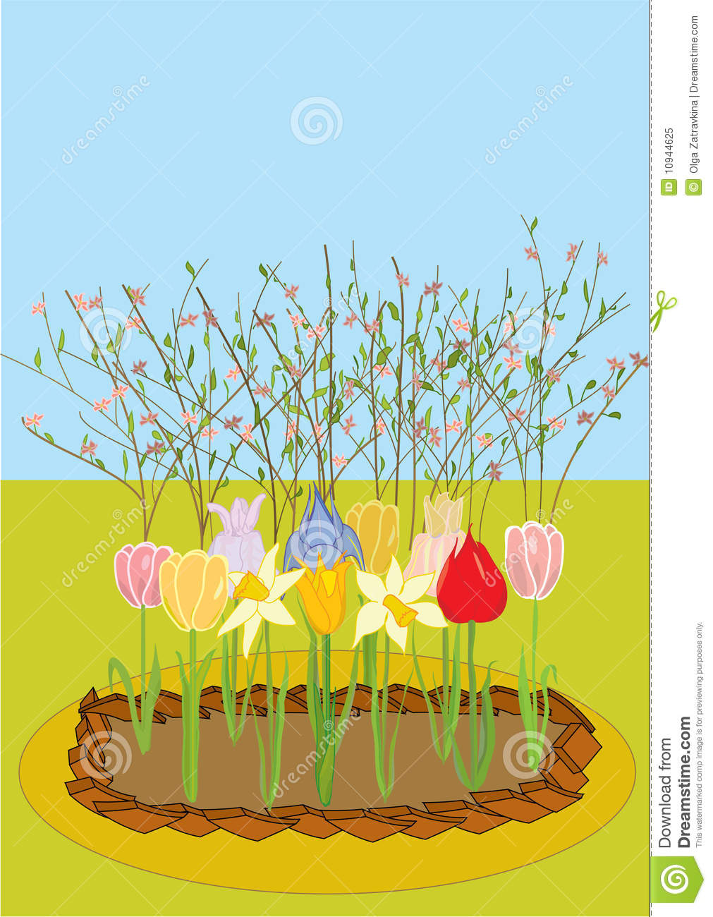 Flower Bed Clipart Vector A Flower Bed With