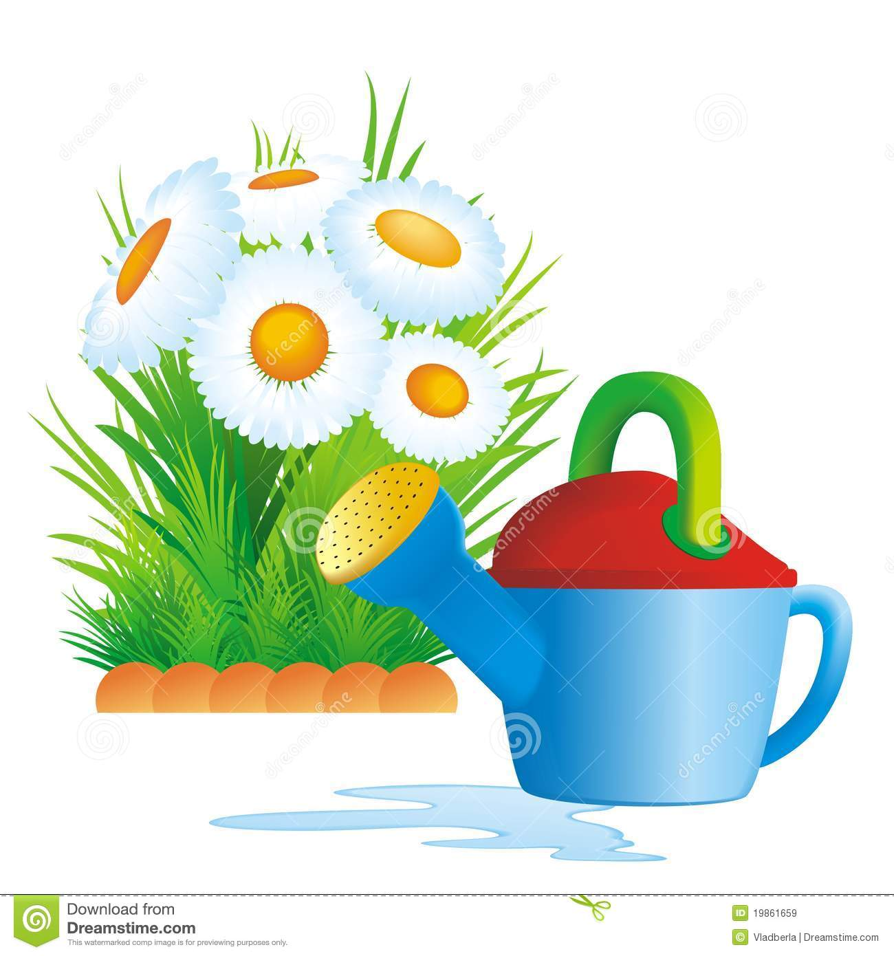 Flower Bed Clipart Watering Can And Flower Bed