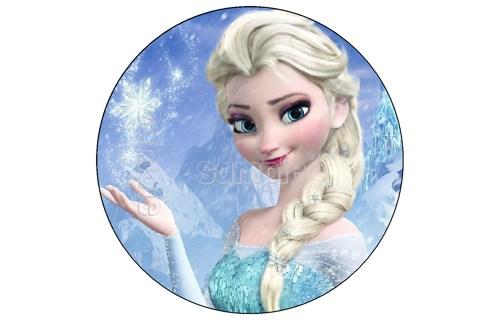 Frozen Elsa Edible Image Cake Decoration Birthday Topper Cupcake Round