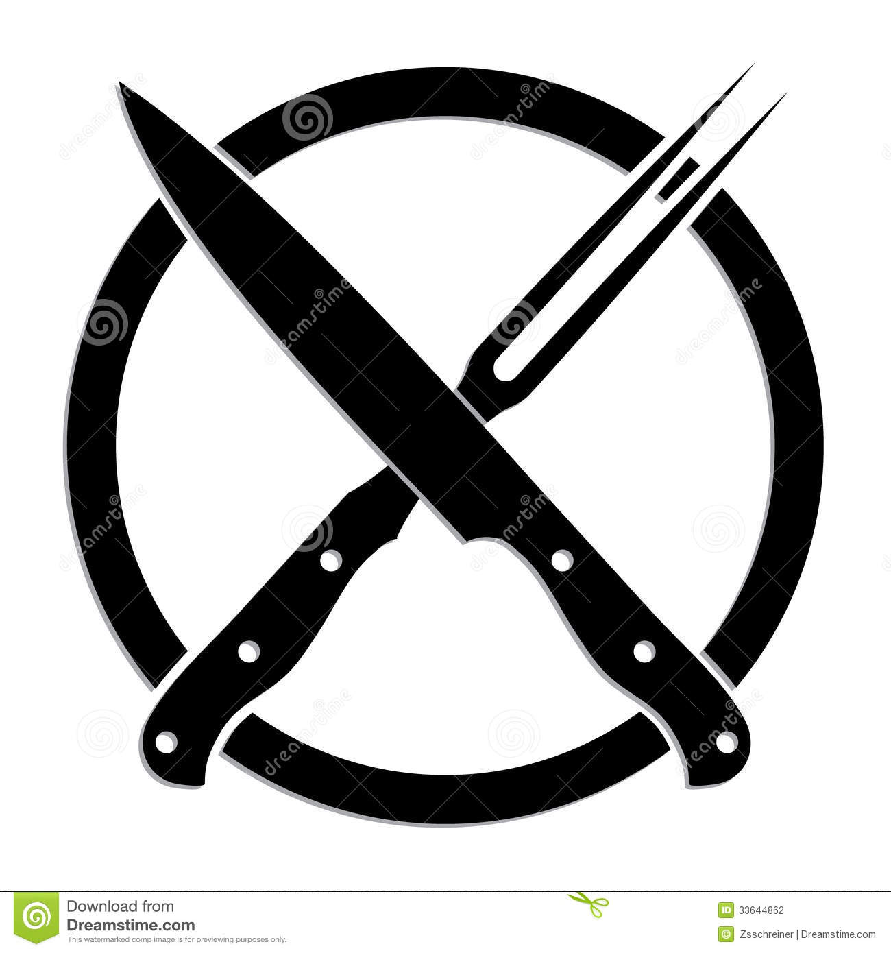 Illustrated Black White Symbol Of Crossed Knife And Fork