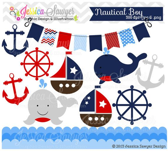 Instant Download Baby Boy Sailing Clip Art Whale Clipart Sail Boat