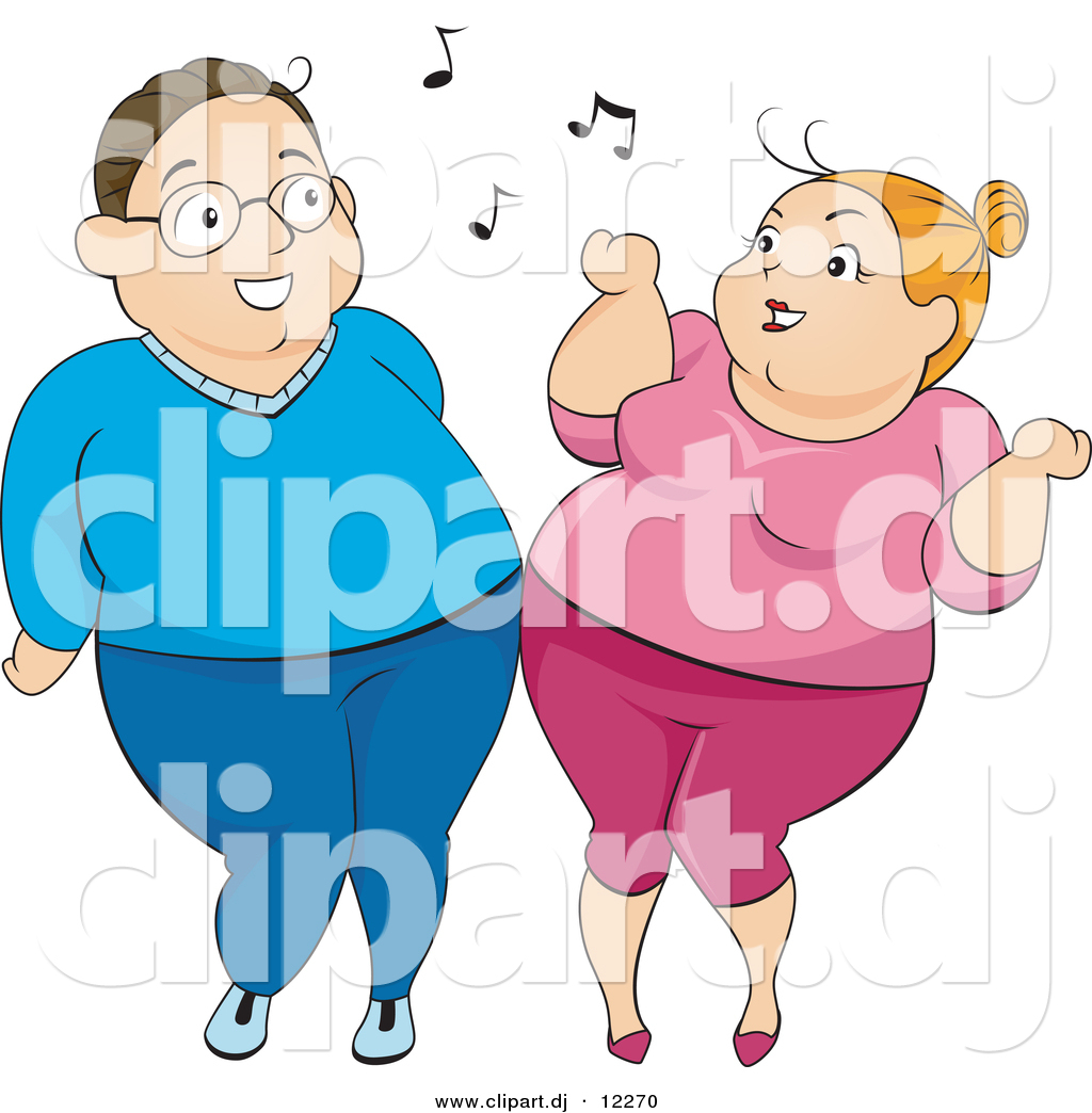 Vector Clipart Of An Overweight Cartoon Woman And Man Dancing With