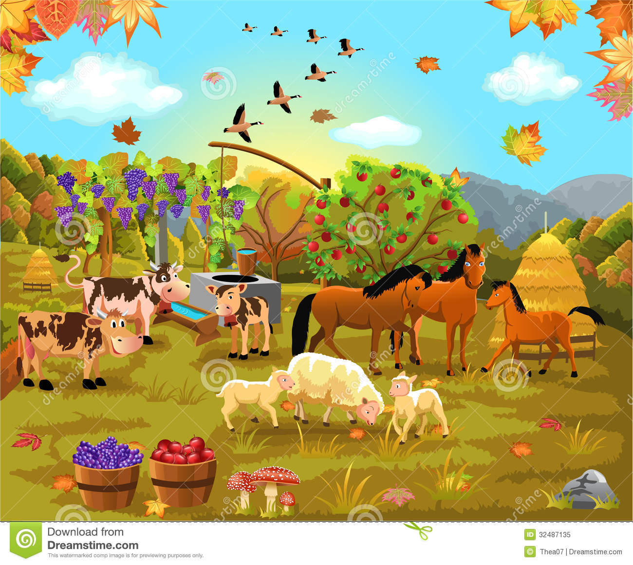 Vector Illustration Of Autumn Scene With Animals And Crop In The Field