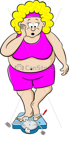 Vector Of Overweight Woman On Bathroom Scale   Vector Illustration Of
