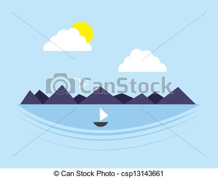 Clip Art Vector Of Mountain Scene Water   Mountain Scene With Body Of