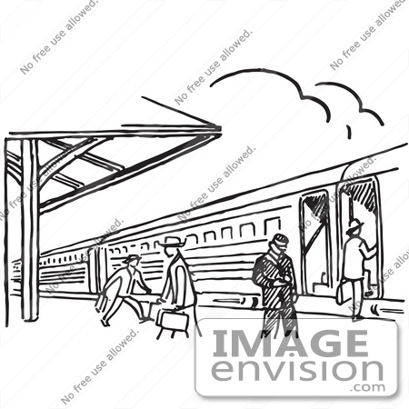 Clipart Of A Train Station In Black And White   Royalty Free Vector
