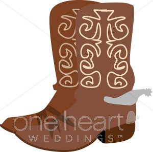 Cowboy Boots With Spurs   Western Wedding Clipart