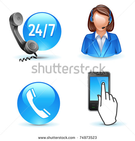 Customer Service Support   Phone Call Center Mobile Icons Stock