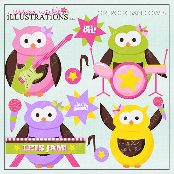 Girl Rock Band Owls Cute Digital Clipart For Card Design Scrapbooking