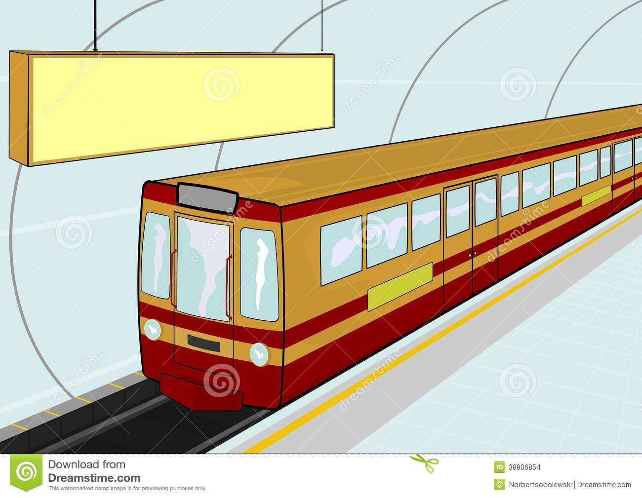 Illustration Of A Electric Train Standing At The Station  Vector