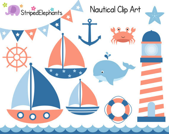 Nautical Clip Art   Sail Boat Clipart   Navy And Peach   Digital