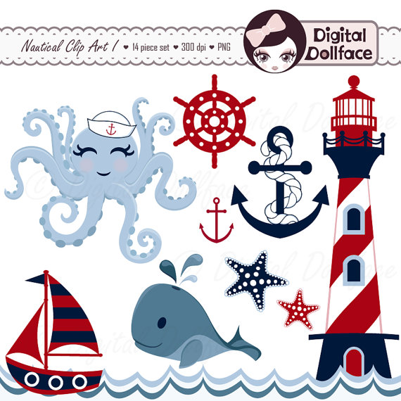 Nautical Clipart Summer Anchor Whale Sailboat Octopus Waves
