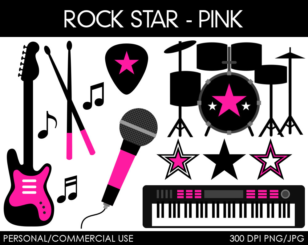 Rock Band Drums Clipart Girl Rock Star Clipart