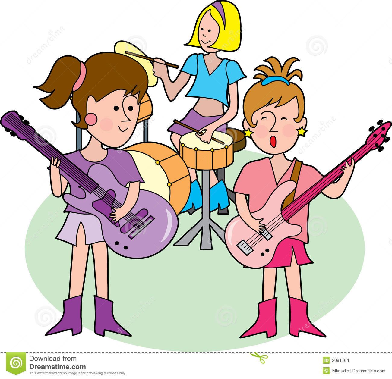 Rock Band With Three Hip Little Girls