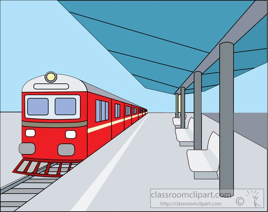 Train   Train At Covered Outdoor Train Station Clipart 814788