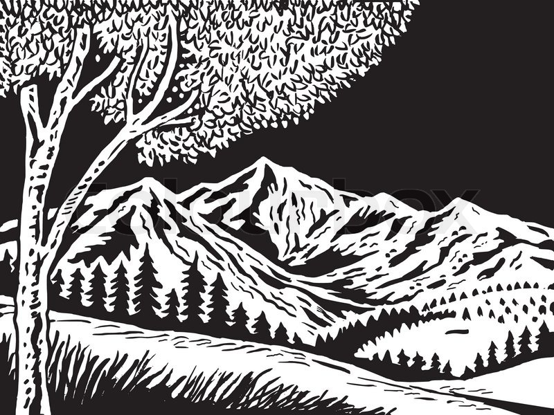 Tree And Mountain Scene Woodcut   Vector   Colourbox