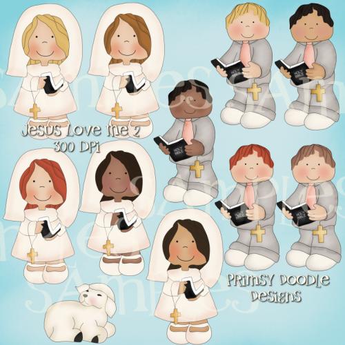 08 Jesus Loves Me Clipart Collection 2   Primsy Doodle Designs
