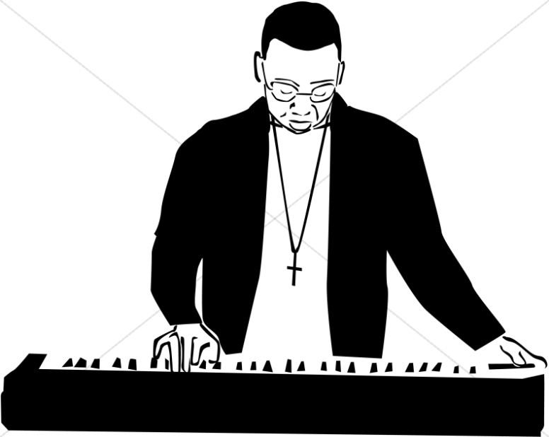 Black And White Worship Band   Worship Clipart