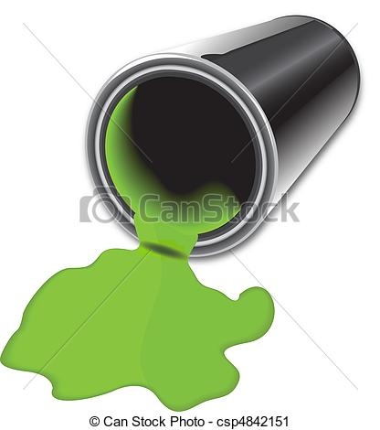 Bucket   Gray Can With Green Spilled Paint Csp4842151   Search Clipart