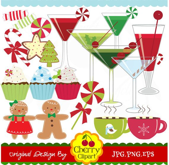 Christmas Sweet Treats And Holiday Drinks Digital Clipart Set Personal