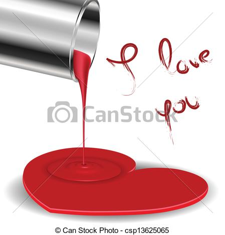 Clip Art Vector Of Spilled Paint Forming A Heart With Metal Bucket For