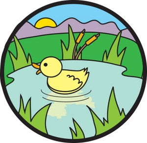 Duckling Clipart Image   A Quacking Duckling Swimming In A Pond At