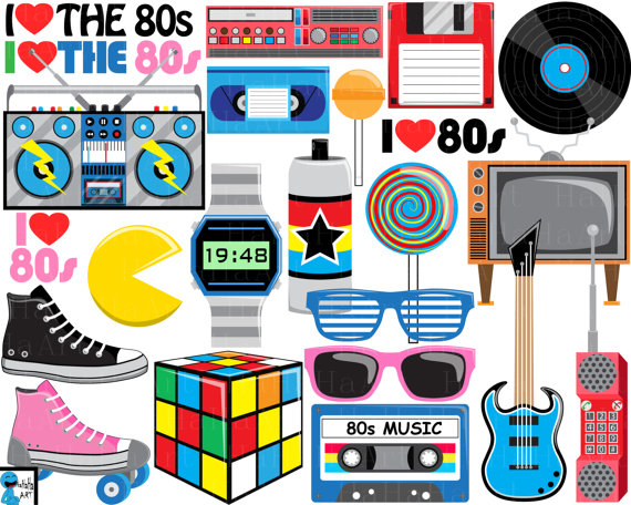 Love The 80s V2  Digital Clipart Clip Art Graphics Personal Use