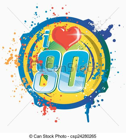 Vector   I Love 80s Music Symbol Isolated O   Stock Illustration