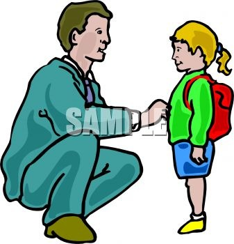 0902 1116 1963 Dad Seeing His Daughter Off To School Clipart Image