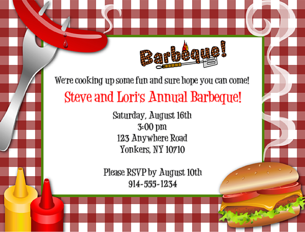 Bbq Barbeque Cookout Party Invitations