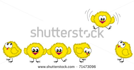 Chicken Border  One Of Them Is Flying   Stock Vector