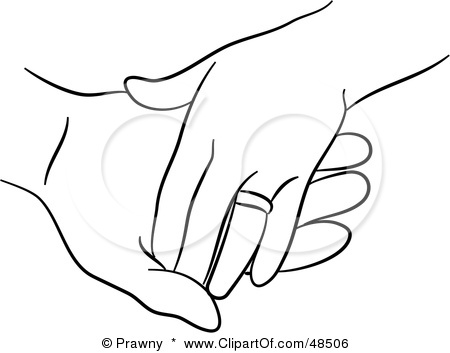 Clipart Illustration Of A Black And White Outline Of Married Hands