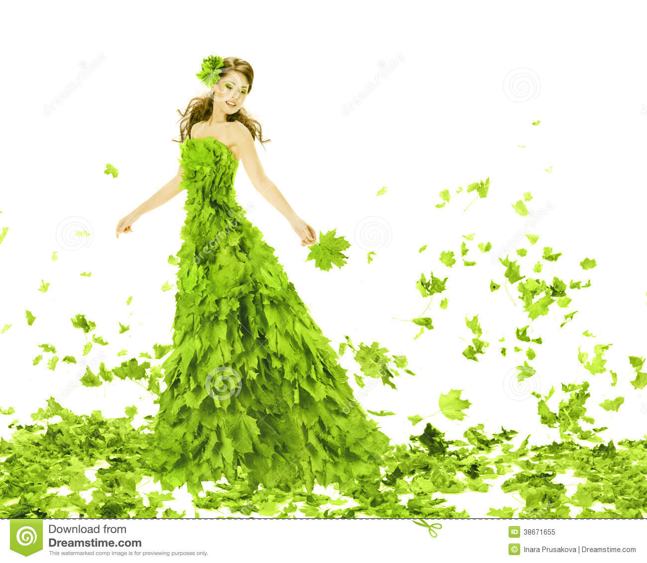 Fantasy Beauty Woman In Leaves Dress Royalty Free Stock Photo   Image