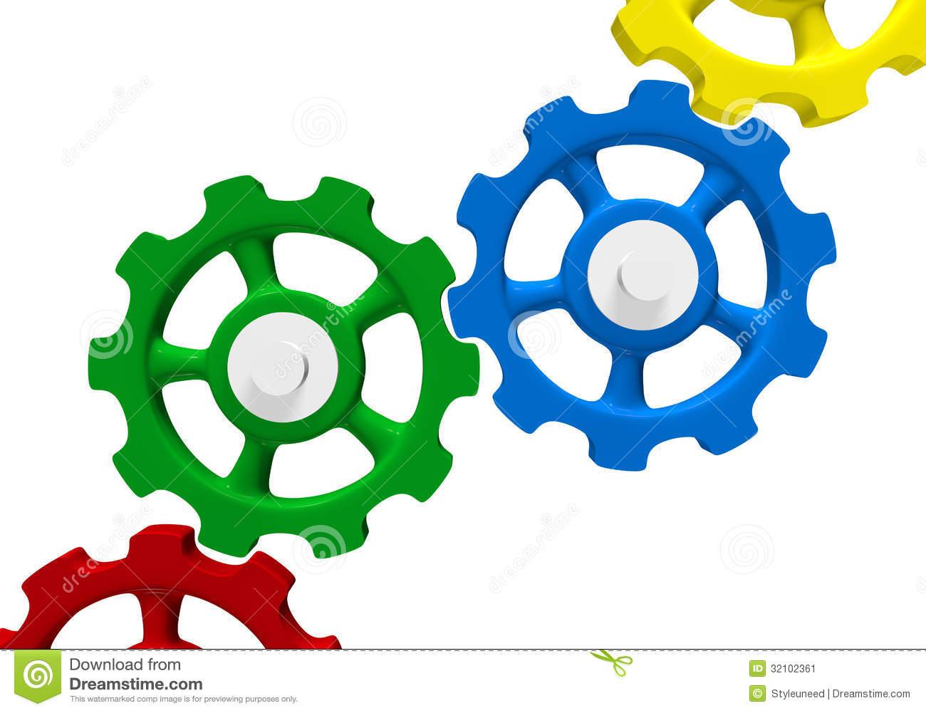 Gears And Cogs Clipart Colored Interlocking Gears