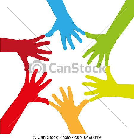 Illustration   Six Colorful Hands Touching Together   Illustration