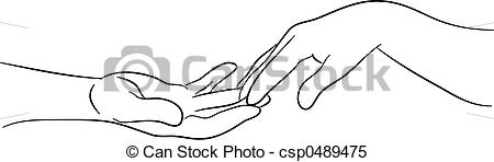 Illustrations Of Touching Hands   Simple Line Drawing Of Two Hands