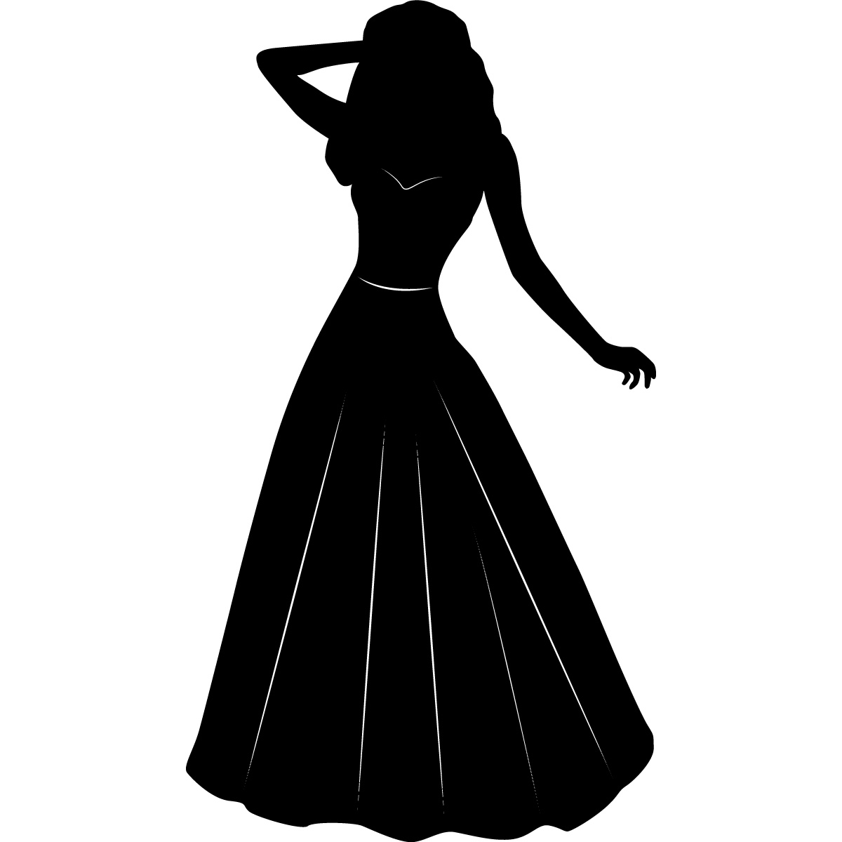 Silhouette Of A Woman In A Dress   Clipart Best