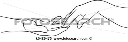 Stock Illustration   Touching Hands  Fotosearch   Search Clipart