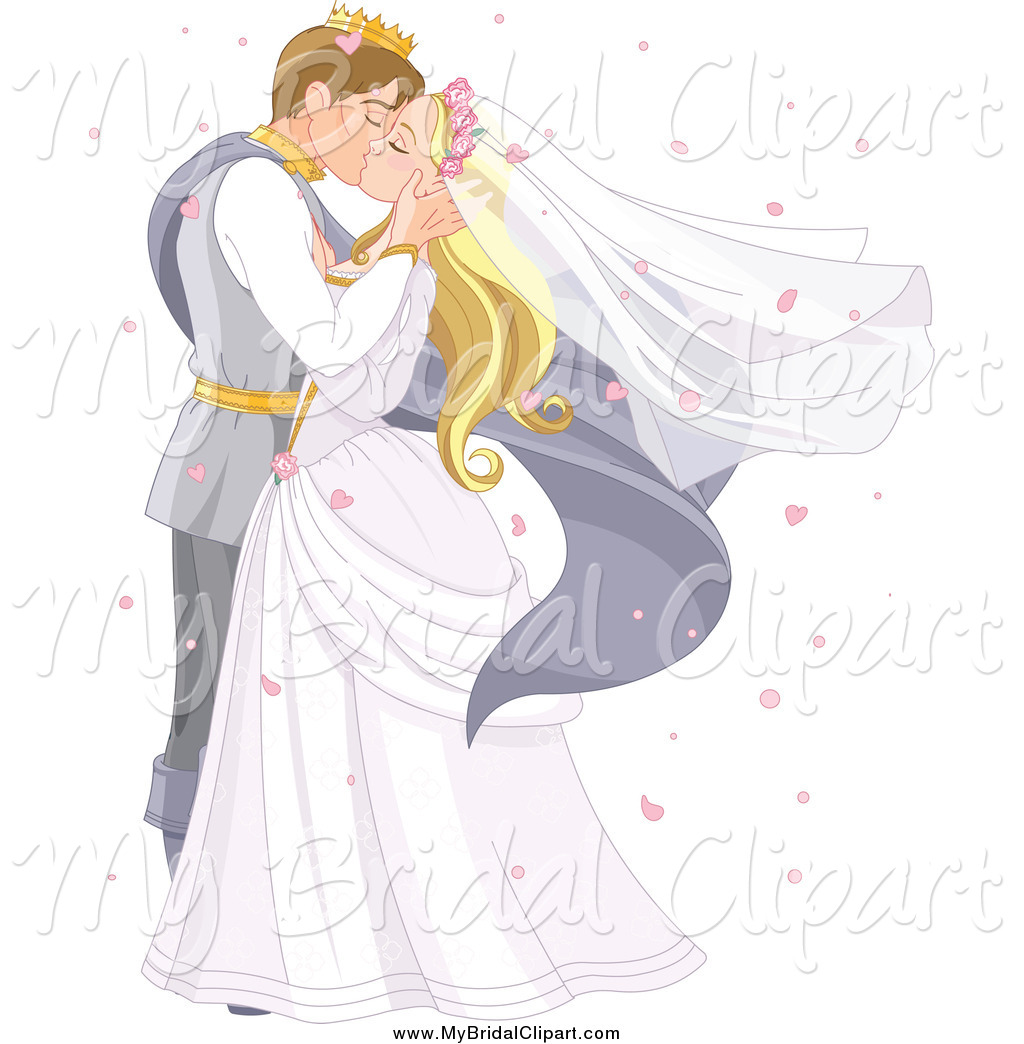 Bridal Clipart Of A Fairy Tale Prince And Princess Wedding Couple