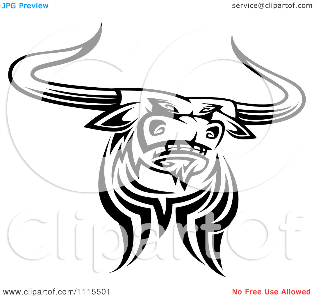 Clipart Black And White Tribal Texas Longhorn Steer Bull 4 Royalty