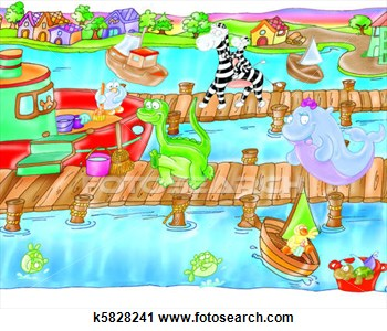 Clipart   Harbor Sea Boat Dock  Fotosearch   Search Clipart