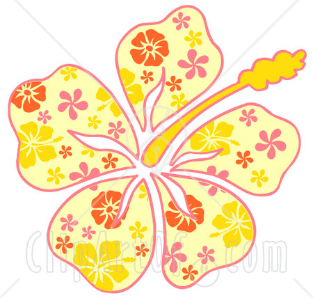 Clipart Illustration Of A Yellow Hawaiian Hibiscus Flower With A Pink
