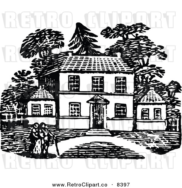 Clipart Of A Retro Black And White People Strolling Near Their Country